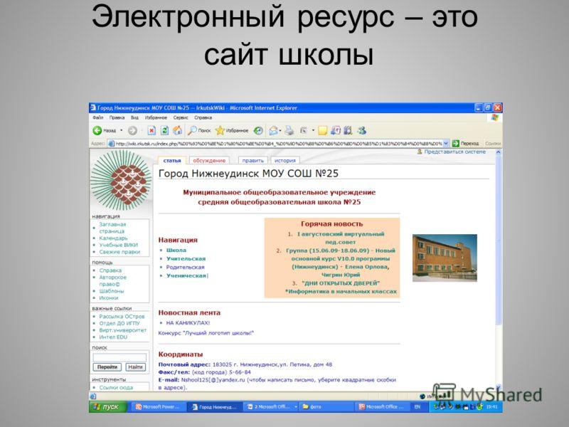 Электронный ресурс – это сайт школы