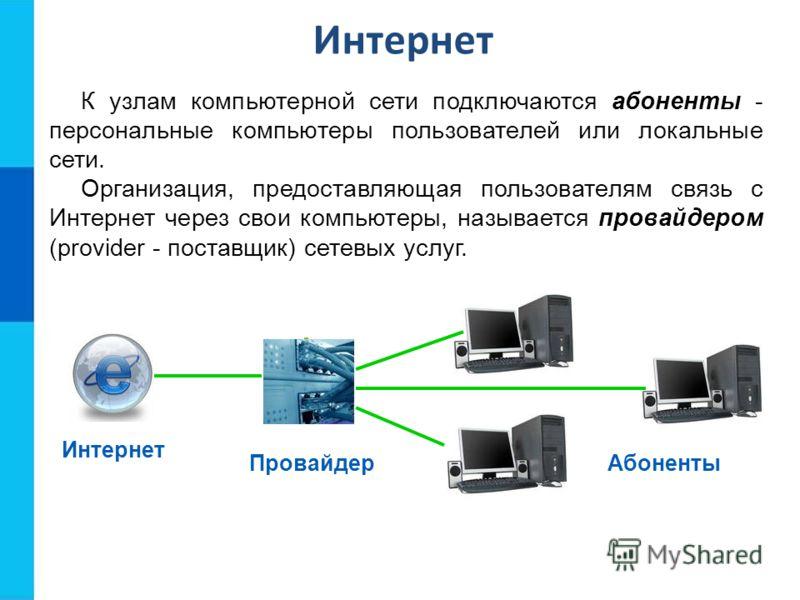 Интернет К узлам компьютерной сети подключаются абоненты - персональные компьютеры пользователей или локальные сети. Организация, предоставляющая пользователям связь с Интернет через свои компьютеры, называется провайдером (provider - поставщик) сете