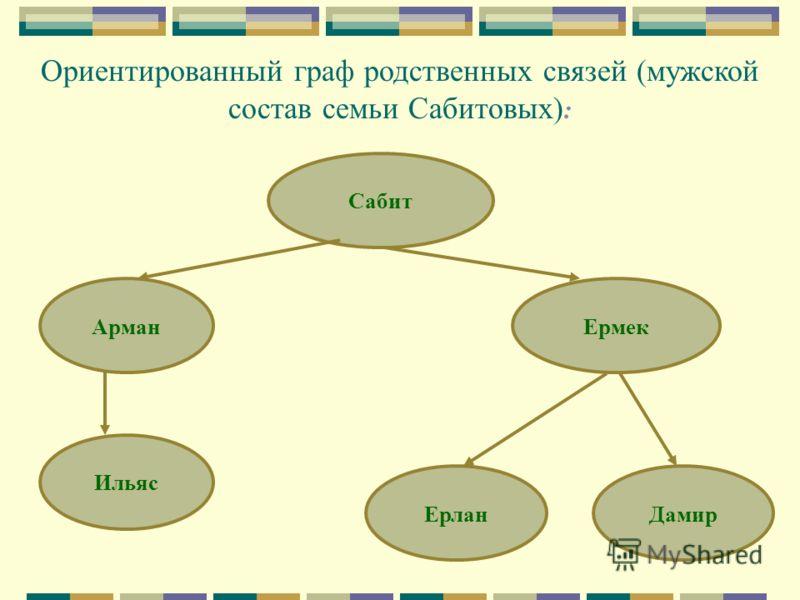 Ориентированный граф родственных связей (мужской состав семьи Сабитовых) : Сабит Арман Ильяс Ермек ЕрланДамир
