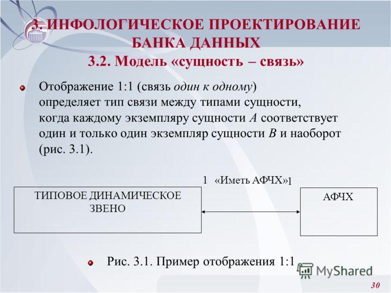 30 Отображение 1:1 (связь один к одному) определяет тип связи между типами сущности, когда каждому экземпляру сущности А соответствует один и только один экземпляр сущности В и наоборот (рис. 3.1). Рис. 3.1. Пример отображения 1:1 3. ИНФОЛОГИЧЕСКОЕ П