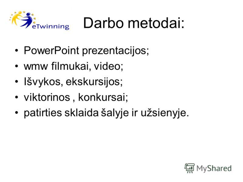 Darbo metodai: PowerPoint prezentacijos; wmw filmukai, video; Išvykos, ekskursijos; viktorinos, konkursai; patirties sklaida šalyje ir užsienyje.