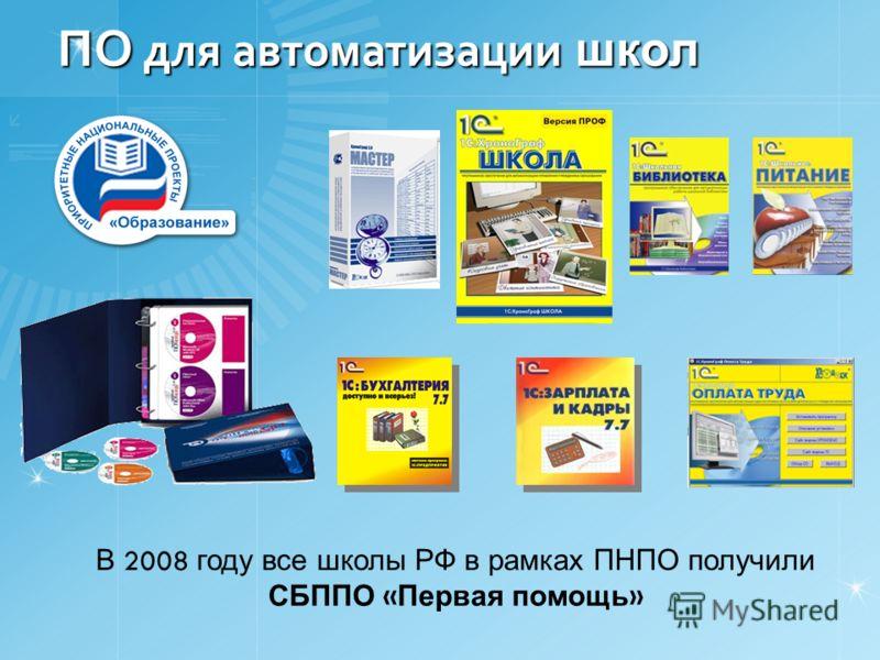 ПО для автоматизации школ В 2008 году все школы РФ в рамках ПНПО получили СБППО « Первая помощь »