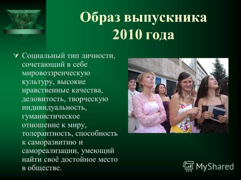 Образ выпускника 2010 года Социальный тип личности, сочетающий в себе мировоззренческую культуру, высокие нравственные качества, деловитость, творческую индивидуальность, гуманистическое отношение к миру, толерантность, способность к саморазвитию и с