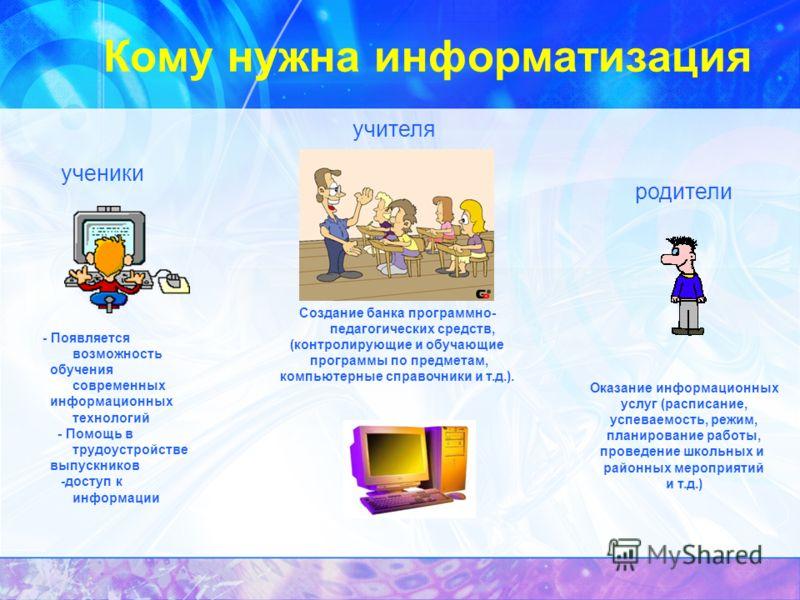 Кому нужна информатизация ученики - Появляется возможность обучения современных информационных технологий - Помощь в трудоустройстве выпускников -доступ к информации учителя Создание банка программно- педагогических средств, (контролирующие и обучающ