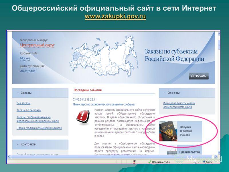 Общероссийский официальный сайт в сети Интернет www.zakupki.gov.ru