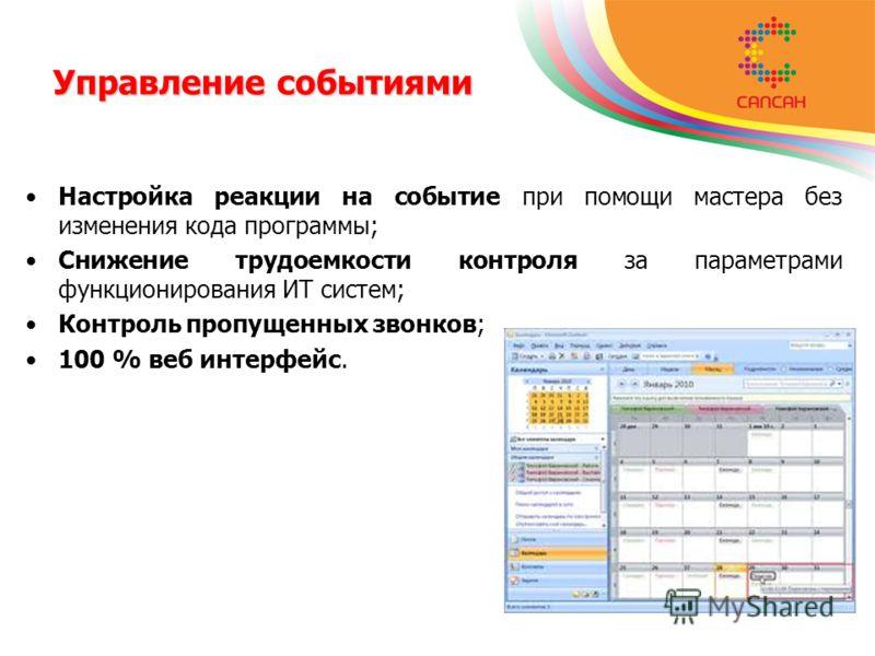 Настройка реакции на событие при помощи мастера без изменения кода программы; Снижение трудоемкости контроля за параметрами функционирования ИТ систем; Контроль пропущенных звонков; 100 % веб интерфейс. Управление событиями