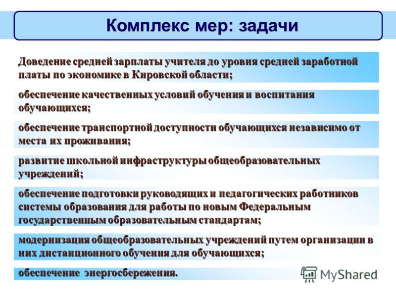 5 Комплекс мер: задачи Доведение средней зарплаты учителя до уровня средней заработной платы по экономике в Кировской области; обеспечение качественных условий обучения и воспитания обучающихся; обеспечение транспортной доступности обучающихся незави