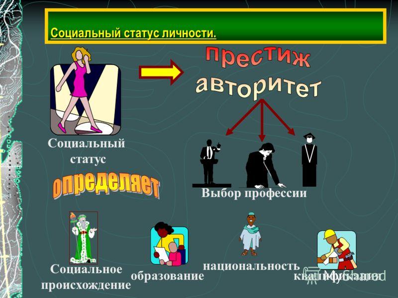Социальный статус личности. Социальный статус Выбор профессии Социальное происхождение образование национальность квалификация