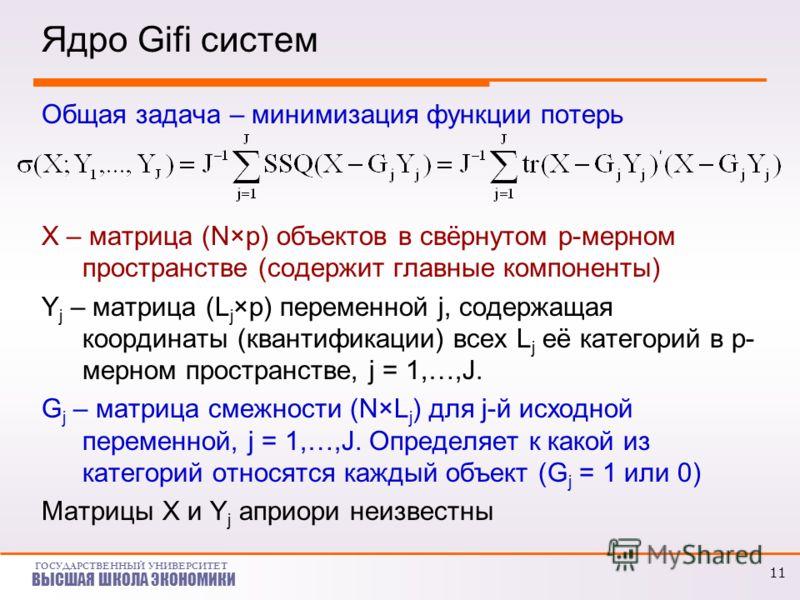 ГОСУДАРСТВЕННЫЙ УНИВЕРСИТЕТ ВЫСШАЯ ШКОЛА ЭКОНОМИКИ Ядро Gifi систем Общая задача – минимизация функции потерь X – матрица (N×p) объектов в свёрнутом p-мерном пространстве (содержит главные компоненты) Y j – матрица (L j ×p) переменной j, содержащая к