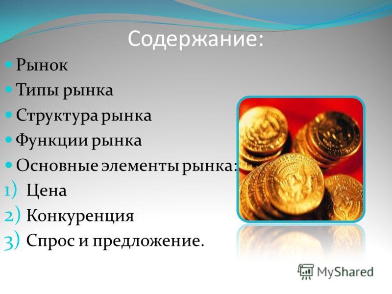 Содержание: Рынок Типы рынка Структура рынка Функции рынка Основные элементы рынка: 1) Цена 2) Конкуренция 3) Спрос и предложение.
