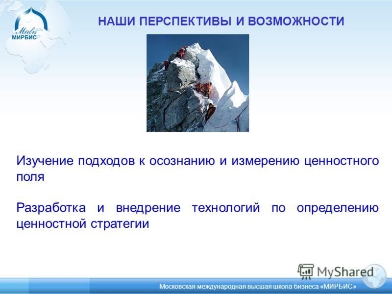 НАШИ ПЕРСПЕКТИВЫ И ВОЗМОЖНОСТИ Изучение подходов к осознанию и измерению ценностного поля Разработка и внедрение технологий по определению ценностной стратегии Московская международная высшая школа бизнеса «МИРБИС»