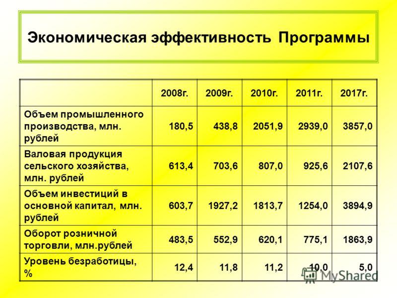 Экономическая эффективность Программы 2008г.2009г.2010г.2011г.2017г. Объем промышленного производства, млн. рублей 180,5438,82051,92939,03857,0 Валовая продукция сельского хозяйства, млн. рублей 613,4703,6807,0925,62107,6 Объем инвестиций в основной