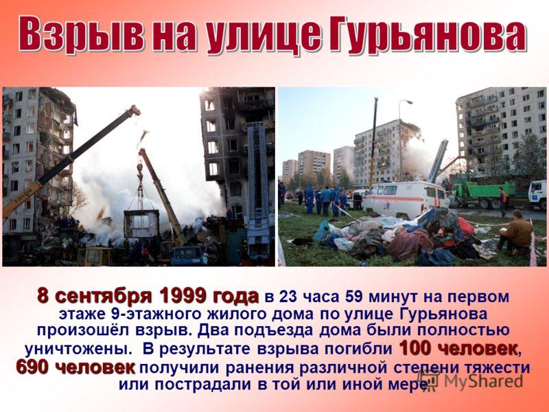 8 сентября 1999 года 100 человек 690 человек 8 сентября 1999 года в 23 часа 59 минут на первом этаже 9-этажного жилого дома по улице Гурьянова произошёл взрыв. Два подъезда дома были полностью уничтожены. В результате взрыва погибли 100 человек, 690