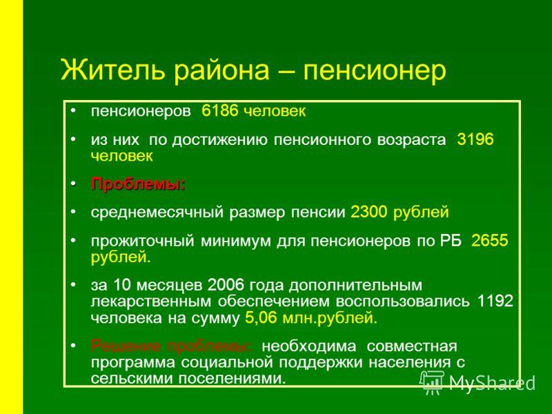 Житель района – пенсионер пенсионеров 6186 человек из них по достижению пенсионного возраста 3196 человек Проблемы:Проблемы: среднемесячный размер пенсии 2300 рублей прожиточный минимум для пенсионеров по РБ 2655 рублей. за 10 месяцев 2006 года допол