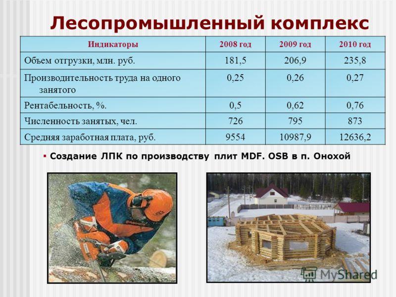 Лесопромышленный комплекс Индикаторы2008 год2009 год2010 год Объем отгрузки, млн. руб.181,5206,9235,8 Производительность труда на одного занятого 0,250,260,27 Рентабельность, %.0,50,620,76 Численность занятых, чел.726795873 Средняя заработная плата,