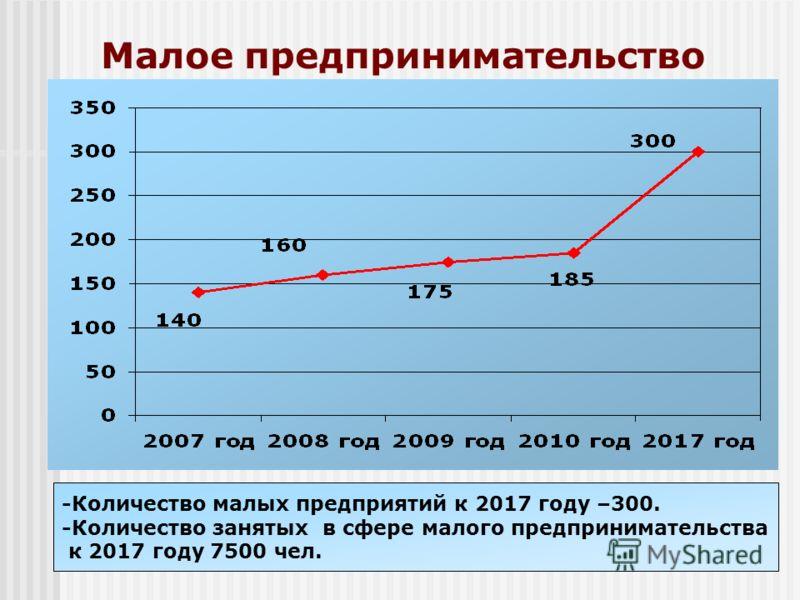 Малое предпринимательство -Количество малых предприятий к 2017 году –300. -Количество занятых в сфере малого предпринимательства к 2017 году 7500 чел.
