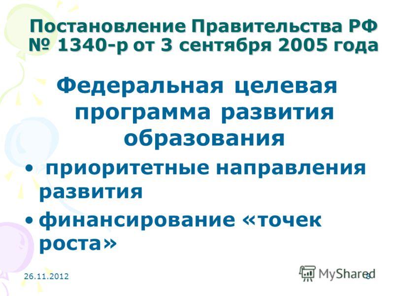 26.11.20128 Постановление Правительства РФ 1340-р от 3 сентября 2005 года Федеральная целевая программа развития образования приоритетные направления развития финансирование «точек роста»