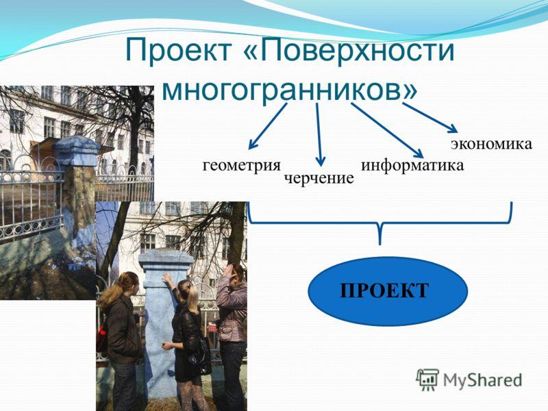 Проект «Поверхности многогранников» геометрияинформатика экономика ПРОЕКТ черчение