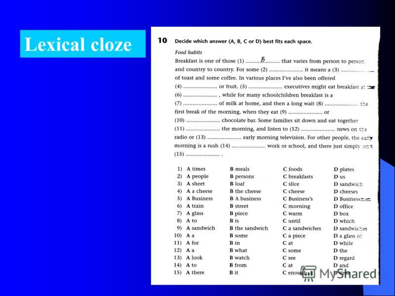 Lexical cloze