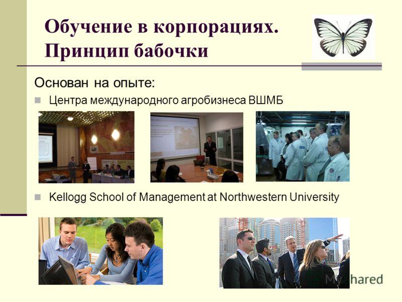 Обучение в корпорациях. Принцип бабочки Основан на опыте: Центра международного агробизнеса ВШМБ Kellogg School of Management at Northwestern University