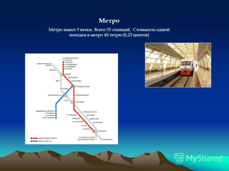 Метро Метро имеет 3 ветки. Всего 35 станций. Стоимость одной поездки в метро 40 тетри (0,25 центов)