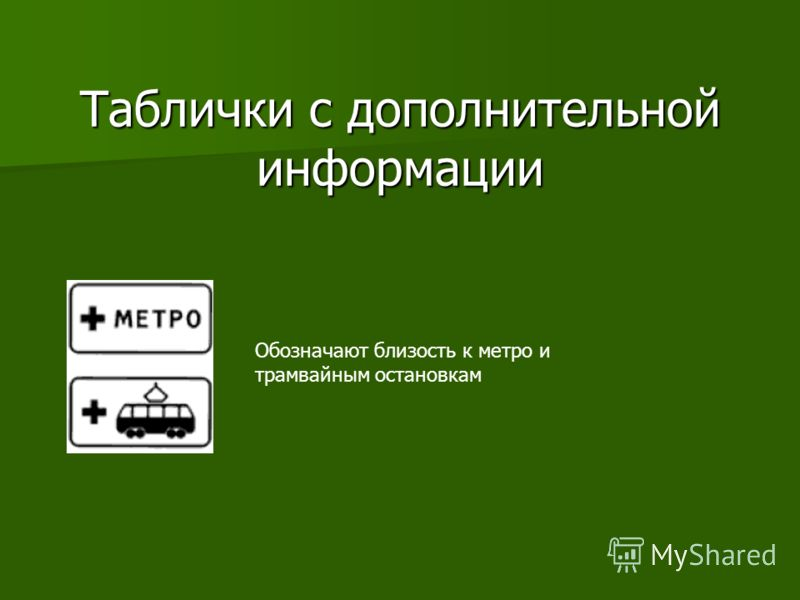 Информационные знаки Подземный переход Пешеходный переход Велосипедная дорожка