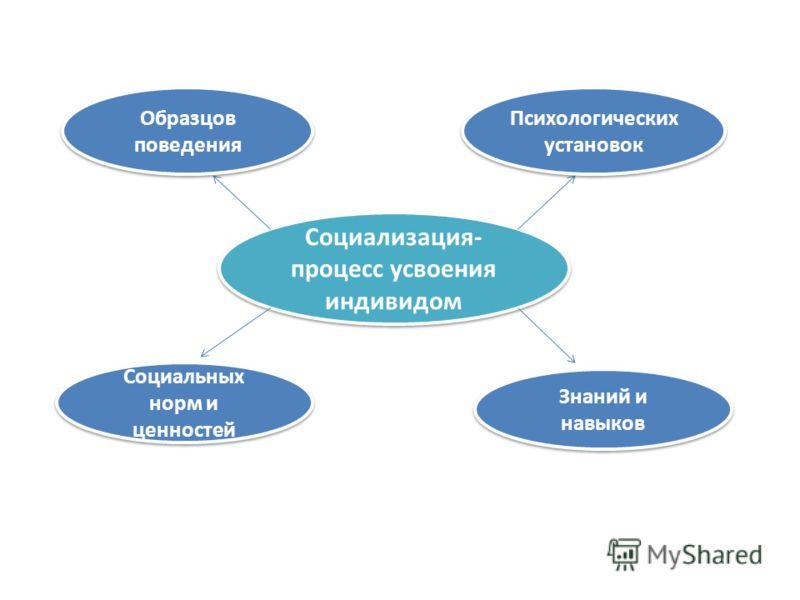 Социализация- процесс усвоения индивидом Образцов поведения Психологических установок Социальных норм и ценностей Знаний и навыков