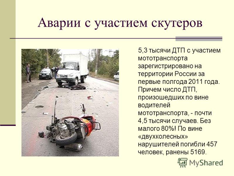 Аварии с участием скутеров 5,3 тысячи ДТП с участием мототранспорта зарегистрировано на территории России за первые полгода 2011 года. Причем число ДТП, произошедших по вине водителей мототранспорта, - почти 4,5 тысячи случаев. Без малого 80%! По вин