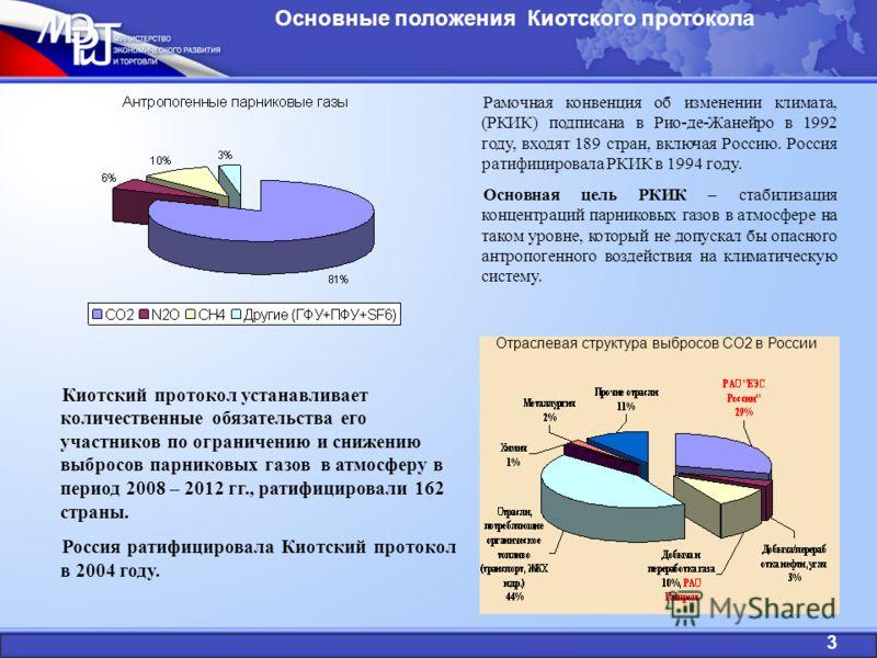 Основные положения Киотского протокола Рамочная конвенция об изменении климата, (РКИК) подписана в Рио-де-Жанейро в 1992 году, входят 189 стран, включая Россию. Россия ратифицировала РКИК в 1994 году. Основная цель РКИК – стабилизация концентраций па