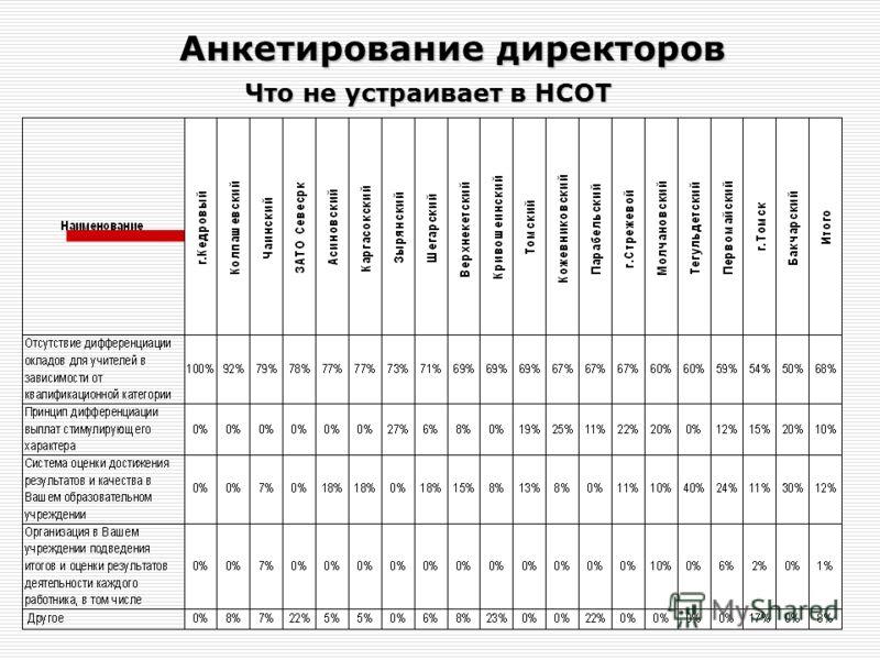 Что не устраивает в НСОТ Анкетирование директоров