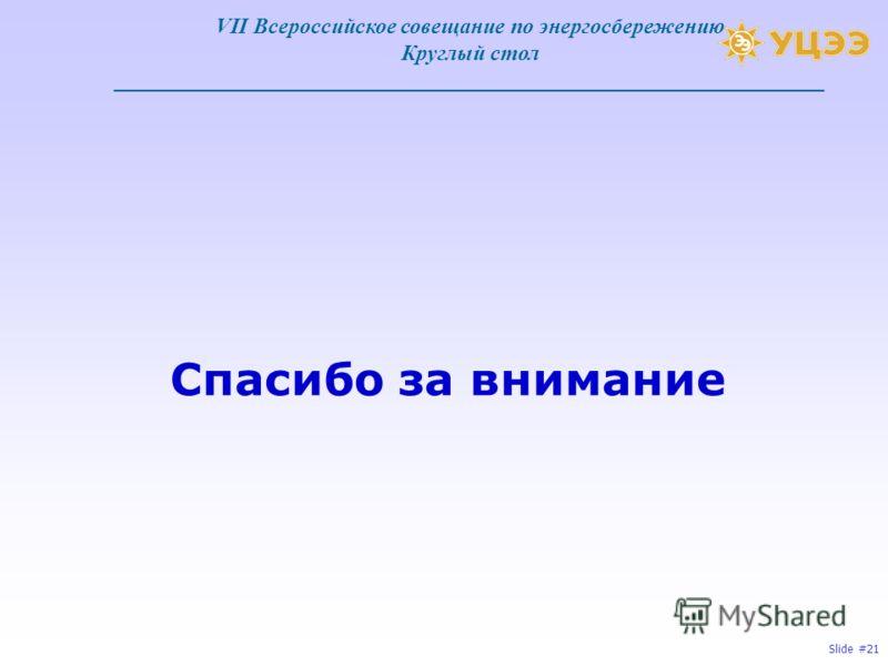 Slide #21 Спасибо за внимание VII Всероссийское совещание по энергосбережению Круглый стол ________________________________________________________________