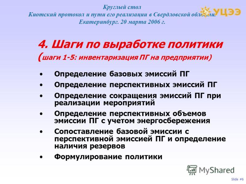 Slide #6 4. Шаги по выработке политики ( шаги 1-5: инвентаризация ПГ на предприятии) Определение базовых эмиссий ПГ Определение перспективных эмиссий ПГ Определение сокращения эмиссий ПГ при реализации мероприятий Определение перспективных объемов эм