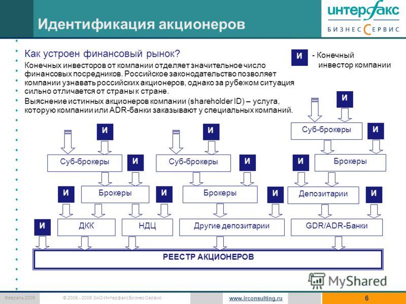 © 2005 - 2009 ЗАО Интерфакс Бизнес Сервис Февраль 2009 www.irconsulting.ru Идентификация акционеров 6 Как устроен финансовый рынок? Конечных инвесторов от компании отделяет значительное число финансовых посредников. Российское законодательство позвол