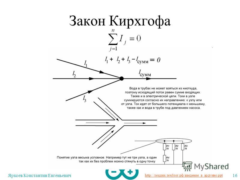http://лекции.техблог.рф/введение_в_ардуино.ppt Яркоев Константин Евгеньевич16 Закон Кирхгофа