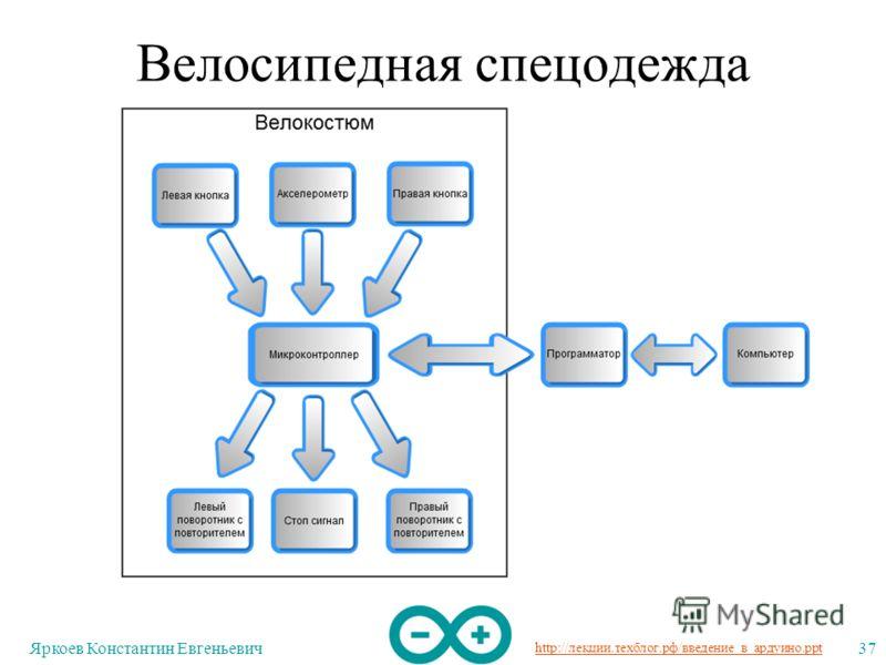 http://лекции.техблог.рф/введение_в_ардуино.ppt Яркоев Константин Евгеньевич37 Велосипедная спецодежда