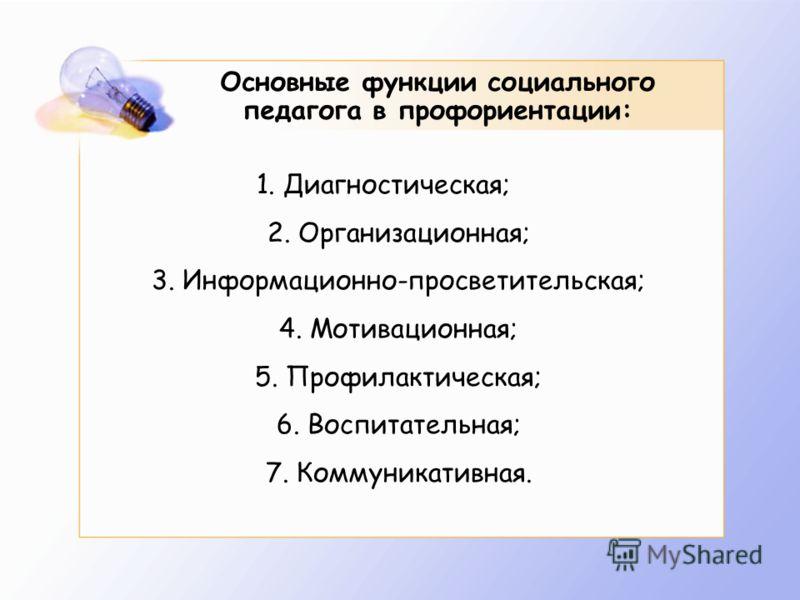 Основные функции социального педагога в профориентации: 1. Диагностическая; 2. Организационная; 3. Информационно-просветительская; 4. Мотивационная; 5. Профилактическая; 6. Воспитательная; 7. Коммуникативная.