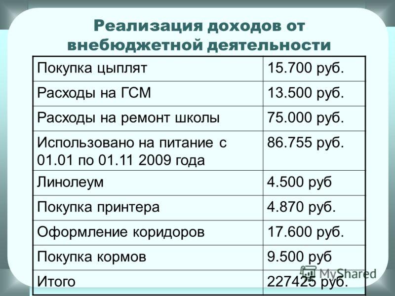 Доходы от внебюджетной деятельности Мясо (свинина)24.161 руб. Мясо (говядина)21.000 руб. Виктория3.000 руб. Овощи20.203 руб. Мясо бройлеров49.200 руб. Оприходовано на питание137.065 руб. Использовано на питание с 01.01 по 01.11 2009 года 86.755 руб.