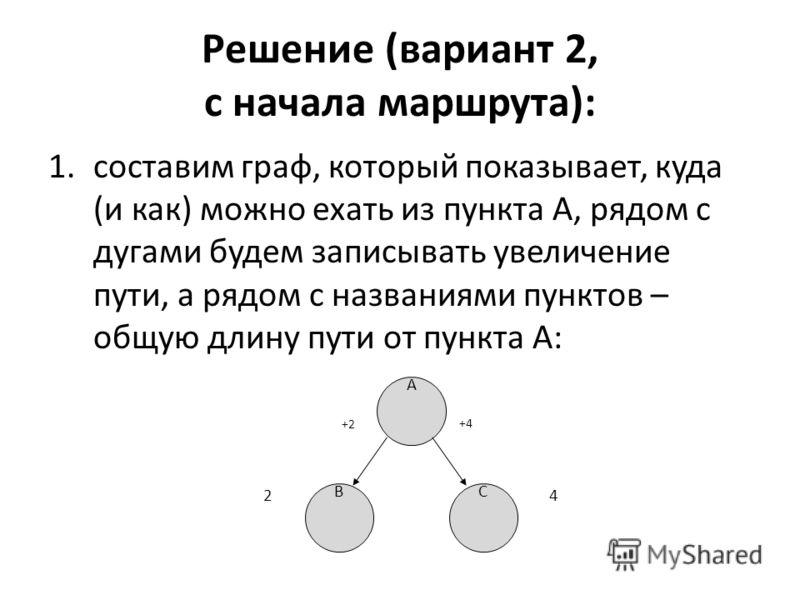 Решение (вариант 2, с начала маршрута): 1.составим граф, который показывает, куда (и как) можно ехать из пункта А, рядом с дугами будем записывать увеличение пути, а рядом с названиями пунктов – общую длину пути от пункта A: A BC 24 +2+2 +4+4
