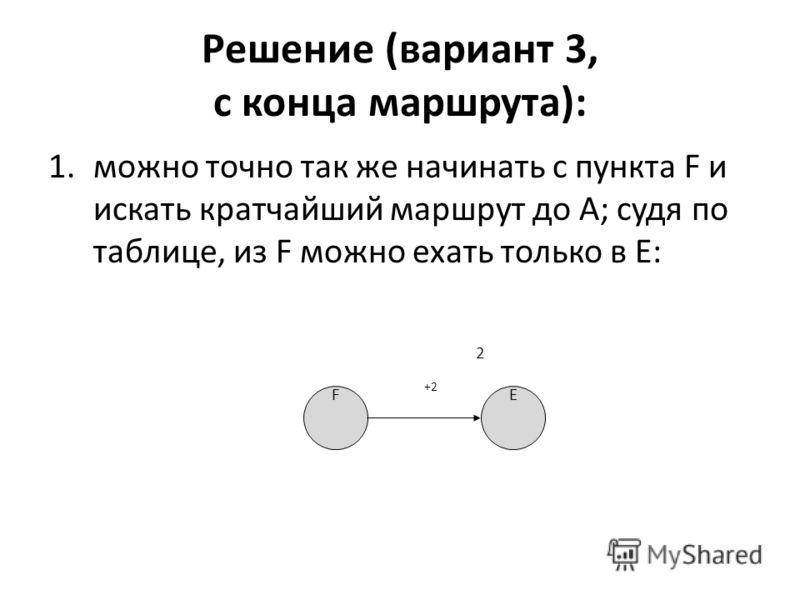 Решение (вариант 3, с конца маршрута): 1.можно точно так же начинать с пункта F и искать кратчайший маршрут до A; судя по таблице, из F можно ехать только в E: E 2 F +2+2