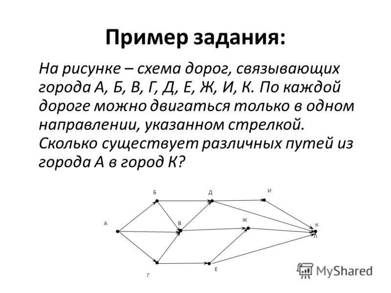 Пример задания: На рисунке – схема дорог, связывающих города А, Б, В, Г, Д, Е, Ж, И, К. По каждой дороге можно двигаться только в одном направлении, указанном стрелкой. Сколько существует различных путей из города А в город К? Г ВА К Е БД Ж И