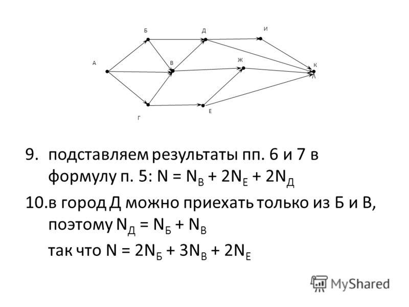 9.подставляем результаты пп. 6 и 7 в формулу п. 5: N = N В + 2N Е + 2N Д 10.в город Д можно приехать только из Б и В, поэтому N Д = N Б + N В так что N = 2N Б + 3N В + 2N Е Г ВА К Е БД Ж И
