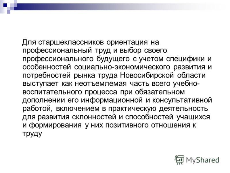 Для старшеклассников ориентация на профессиональный труд и выбор своего профессионального будущего с учетом специфики и особенностей социально-экономического развития и потребностей рынка труда Новосибирской области выступает как неотъемлемая часть в
