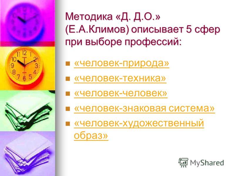 Методика «Д. Д.О.» (Е.А.Климов) описывает 5 сфер при выборе профессий: «человек-природа» «человек-техника» «человек-человек» «человек-знаковая система» «человек-художественный образ»