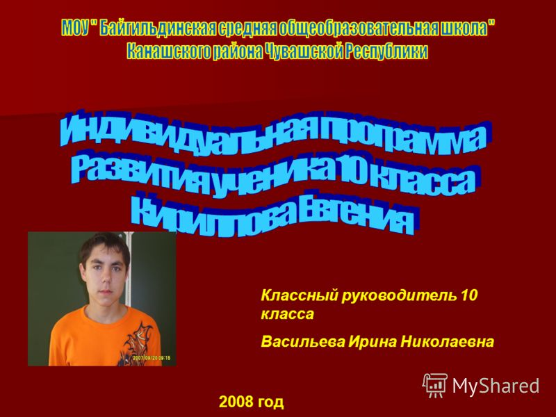 Классный руководитель 10 класса Васильева Ирина Николаевна 2008 год