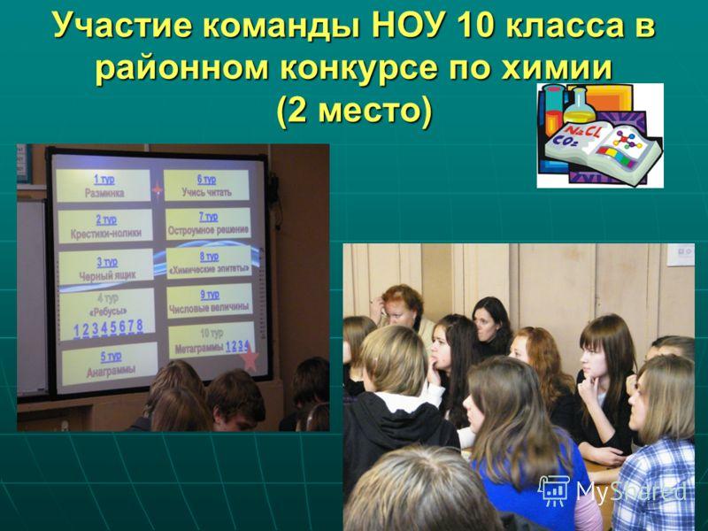 Участие команды НОУ 10 класса в районном конкурсе по химии (2 место)