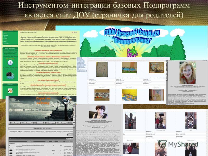 Инструментом интеграции базовых Подпрограмм является сайт ДОУ (страничка для родителей)