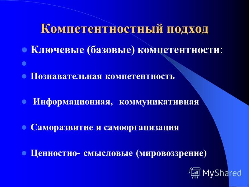Компетентностный подход Ключевые (базовые) компетентности: Познавательная компетентность Информационная, коммуникативная Саморазвитие и самоорганизация Ценностно- смысловые (мировоззрение)