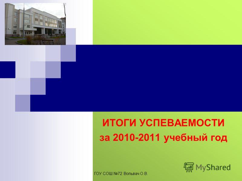 ИТОГИ УСПЕВАЕМОСТИ за 2010-2011 учебный год ГОУ СОШ 72 Вольвач О.В.