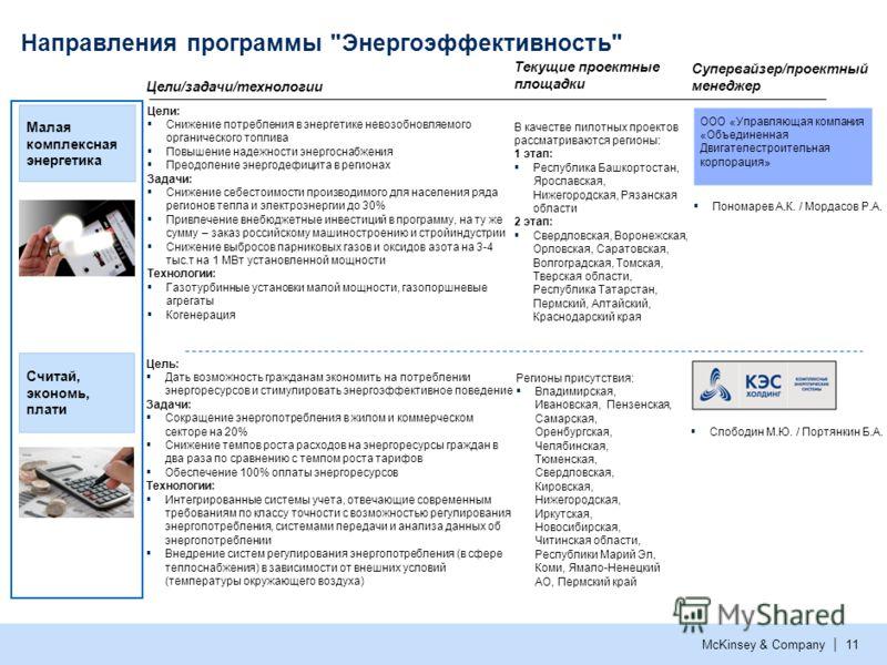 McKinsey & Company | 10 Направления программы