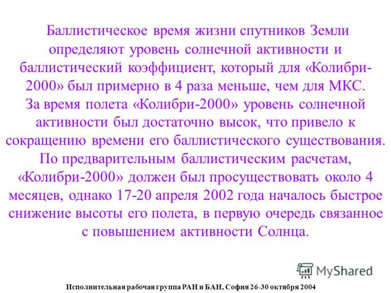 Исполнительная рабочая группа РАН и БАН, София 26-30 октября 2004 Баллистическое время жизни спутников Земли определяют уровень солнечной активности и баллистический коэффициент, который для «Колибри- 2000» был примерно в 4 раза меньше, чем для МКС.
